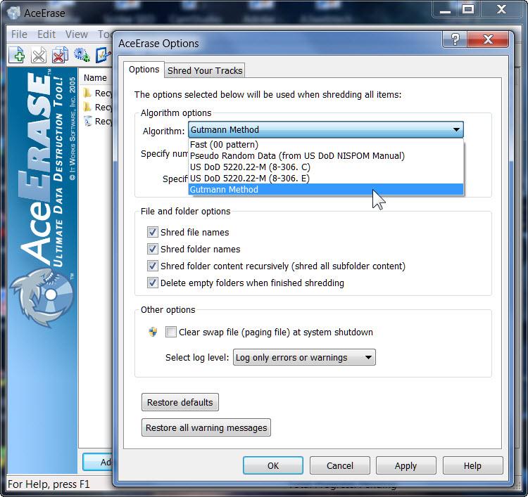 Delete Browsing History Internet Explorer AceErase File Shredder
