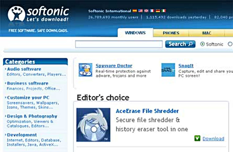 AceErase File Shredder is Editor's Choice at Softonic